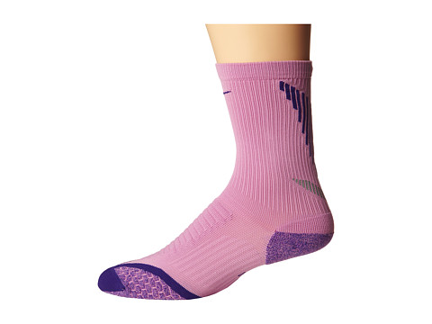 Nike - Elite Running Cushion Crew (Light Magenta/Court Purple/Court Purple) Crew Cut Socks Shoes