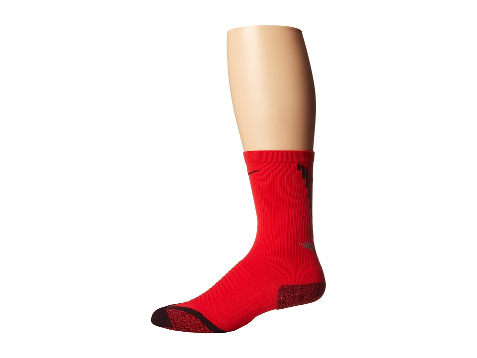 Nike - Elite Running Cushion Crew (Action Red/Deep Burgundy/Deep Burgundy) Crew Cut Socks Shoes