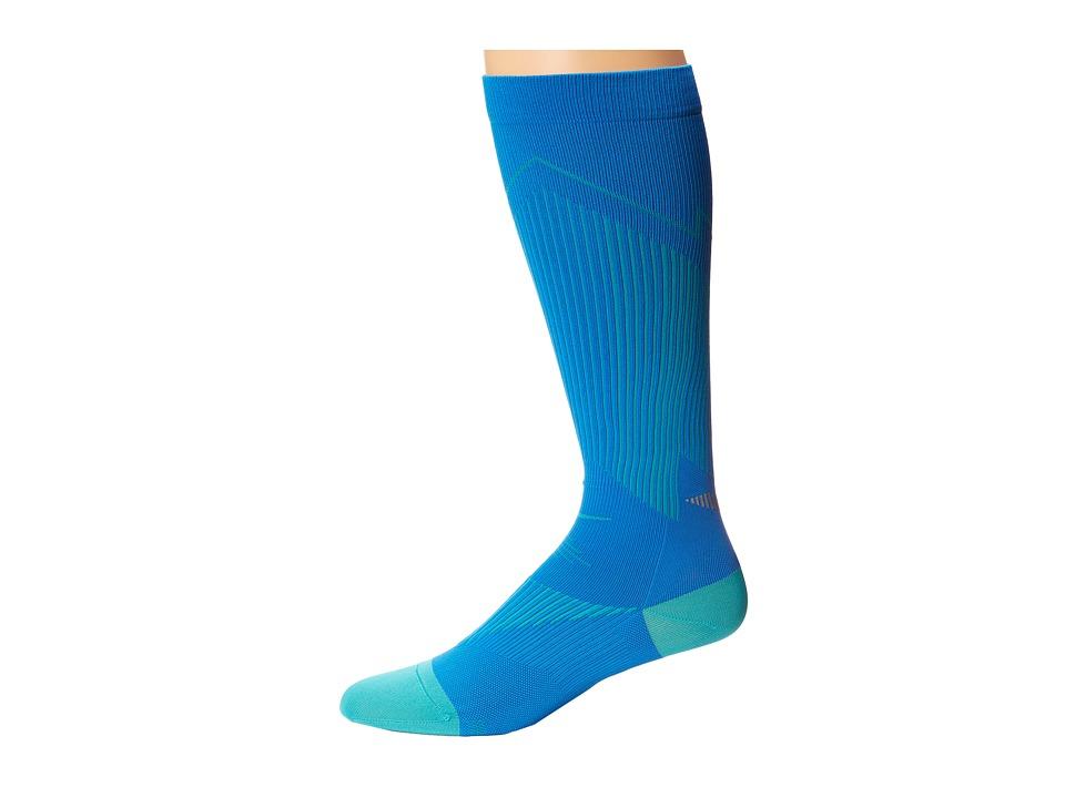 Nike - Elite Running Graduated (Photo Blue/Hyper Jade/Hyper Jade) Knee High Socks Shoes