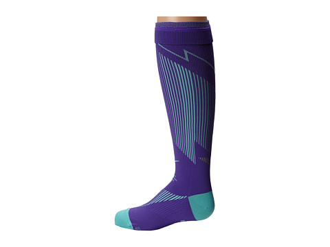 Nike - Elite Running Graduated (Hyper Grape/Bleached Turquoise/Bleached Turquoise) Knee High Socks Shoes