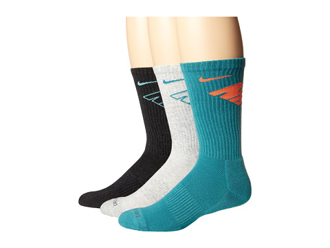Nike - Dri-Fit Fly Crew 3-Pair Pack (Black Heather/Bleached Turquoise/Grey Heather/Catalina/Catalina) Crew Cut Socks Shoes