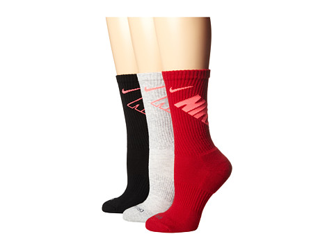 Nike - Dri-Fit Fly Crew 3-Pair Pack (Black/Hyper Punch/Grey Heather/Hyper Punch/Gym Red/Hyper Punch) Crew Cut Socks Shoes