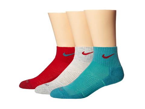 Nike - Dri-FIT Cushion Quarter 3 Pack (Gym Red/Catalina/Grey Heather/Gym Red/Catalina/Gym Red) Quarter Length Socks Shoes