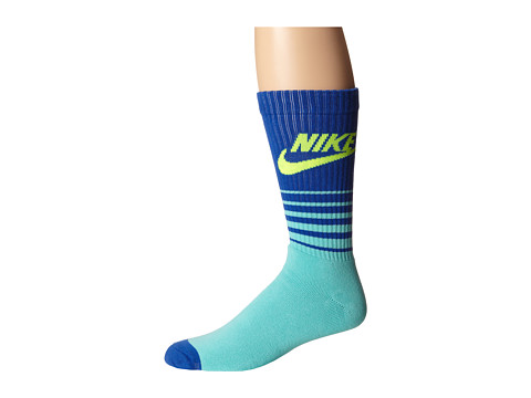 Nike - NSW Classic Striped HBR Sock (Bleached Turquoise/Game Royal/Volt) Men's Crew Cut Socks Shoes