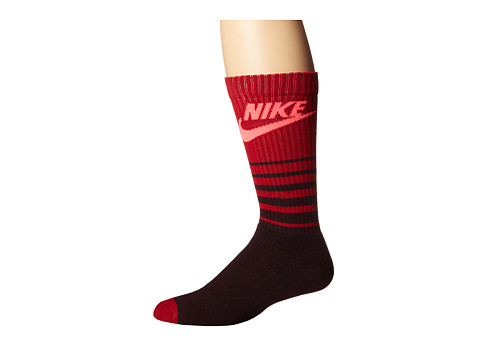 Nike - NSW Classic Striped HBR Sock (Deep Burgundy/Gym Red/Hyper Punch) Men's Crew Cut Socks Shoes