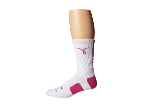 Nike - Elite Basketball Kay Yow Crew (White/Pink Fire II/Pink Fire II) Crew Cut Socks Shoes