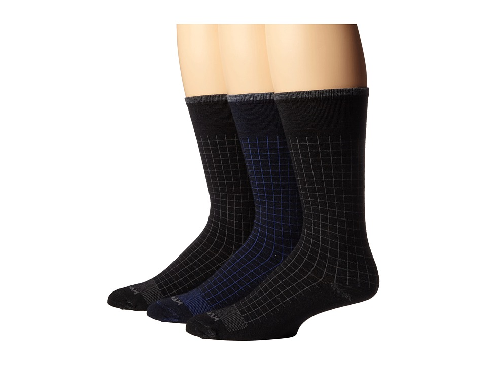 Wigwam - Byron 3-Pair Pack (Navy/Black/Black) Men's Crew Cut Socks Shoes