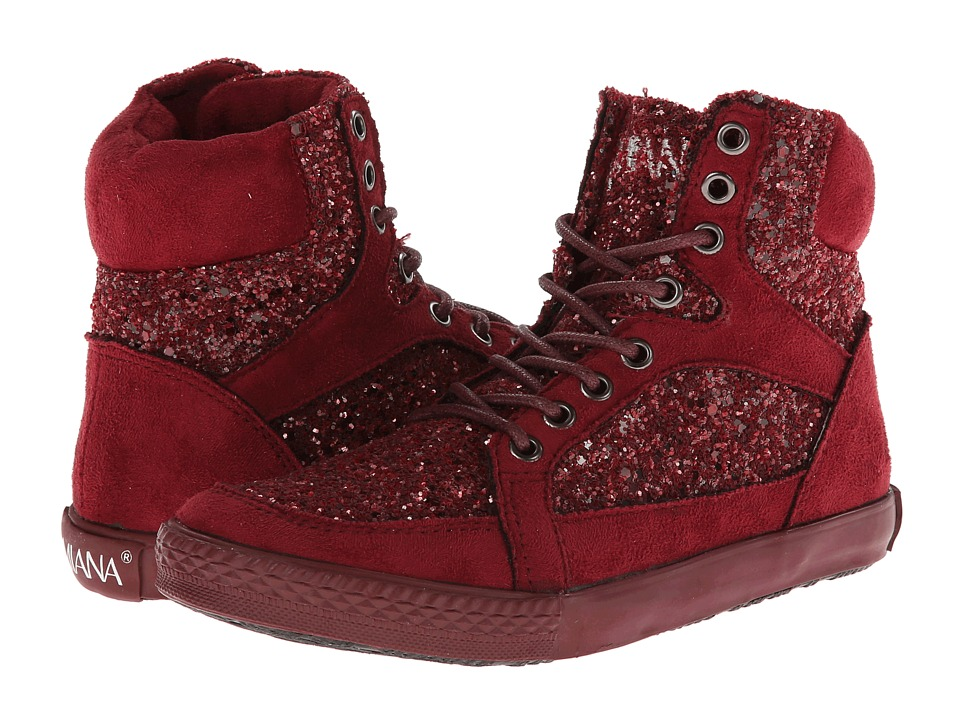 Amiana - 15-A5289 (Toddler/Little Kid/Big Kid/Adult) (Burgundy Suede Fabric/Chunky Glitter) Girl
