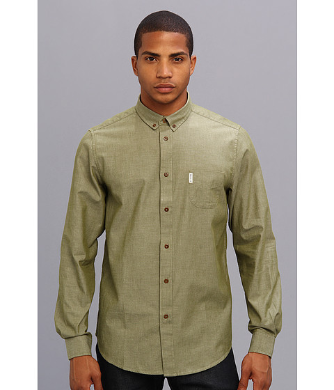 Ben Sherman - L/S Chambray Shirt (Winter Moss) Men's Clothing