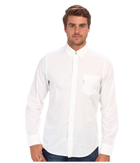 Ben Sherman - Summer Oxford Chambray L/S Shirt (Bright White) Men's Long Sleeve Button Up