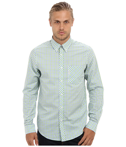 Ben Sherman - House Mod L/S (Green Tea) Men's Long Sleeve Button Up