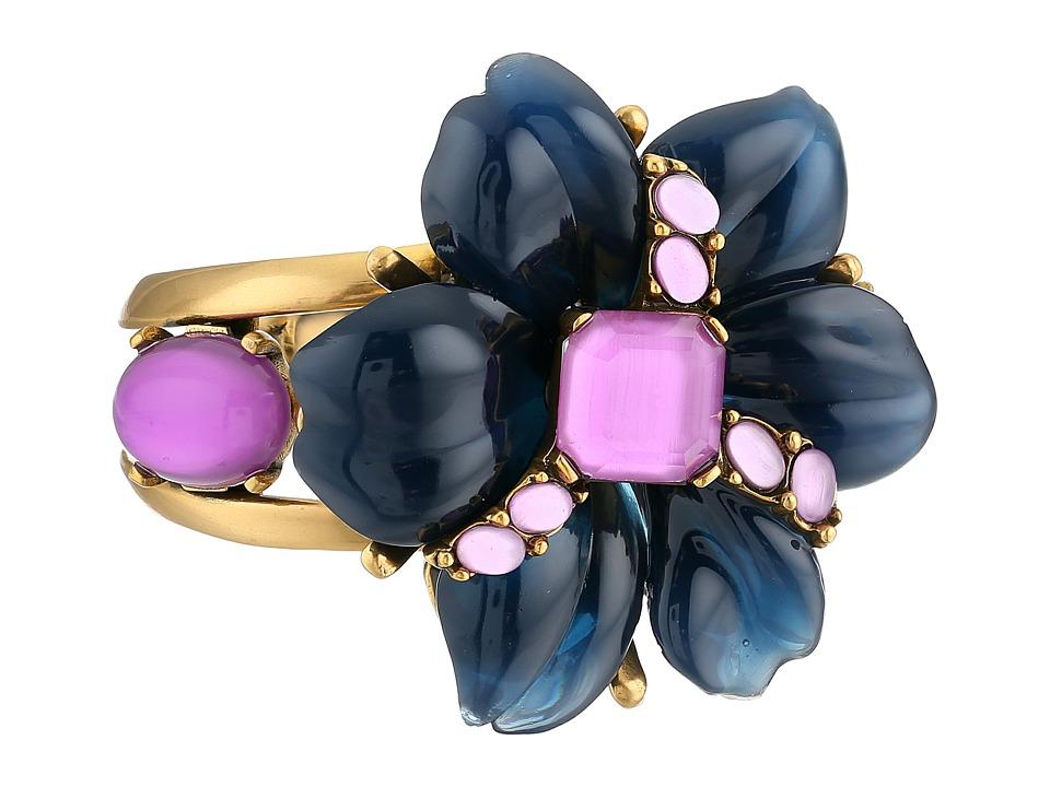 Oscar de la Renta - Resin Flower And Cabochon Bracelet (Navy Lilac) Bracelet