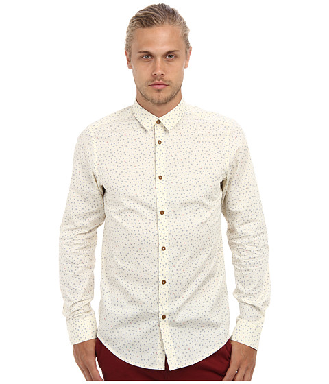 Ben Sherman - Geo Print (Turtledove) Men's Long Sleeve Button Up