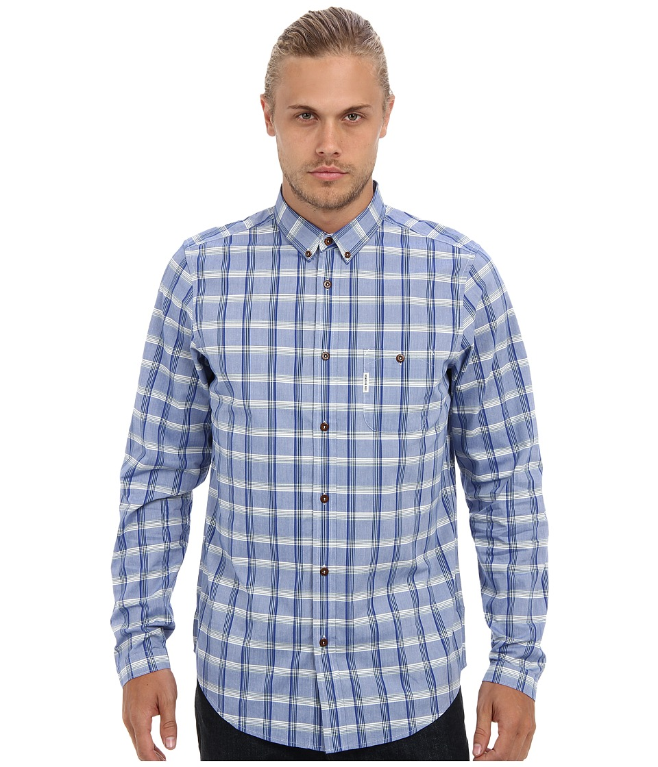 Ben Sherman - Indigo Check (Blue Atoll) Men's Long Sleeve Button Up