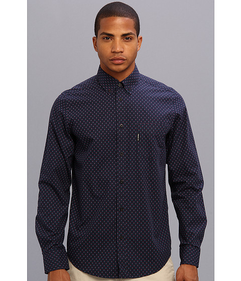 Ben Sherman - Spot Print L/S Shirt (Medieval Blue) Men's Long Sleeve Button Up