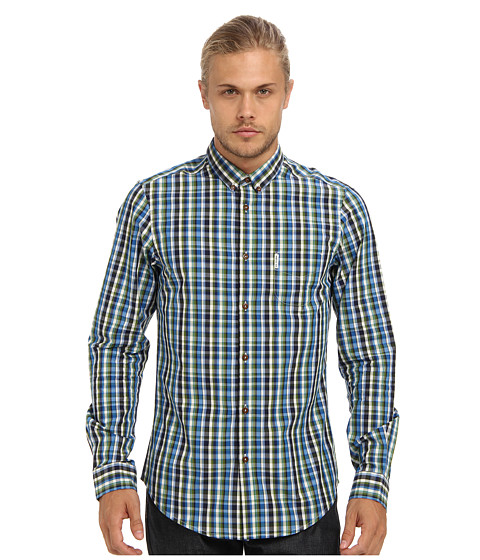 Ben Sherman - Multicolour Check (Turkish Sea) Men's Long Sleeve Button Up