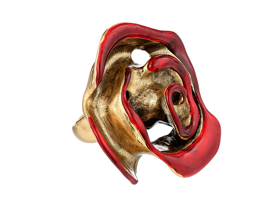 Oscar de la Renta - Resin Painted Flower Ring (Cardinal) Ring