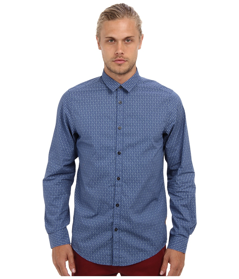 Ben Sherman - Rope Print (Washed Blue) Men's Long Sleeve Button Up