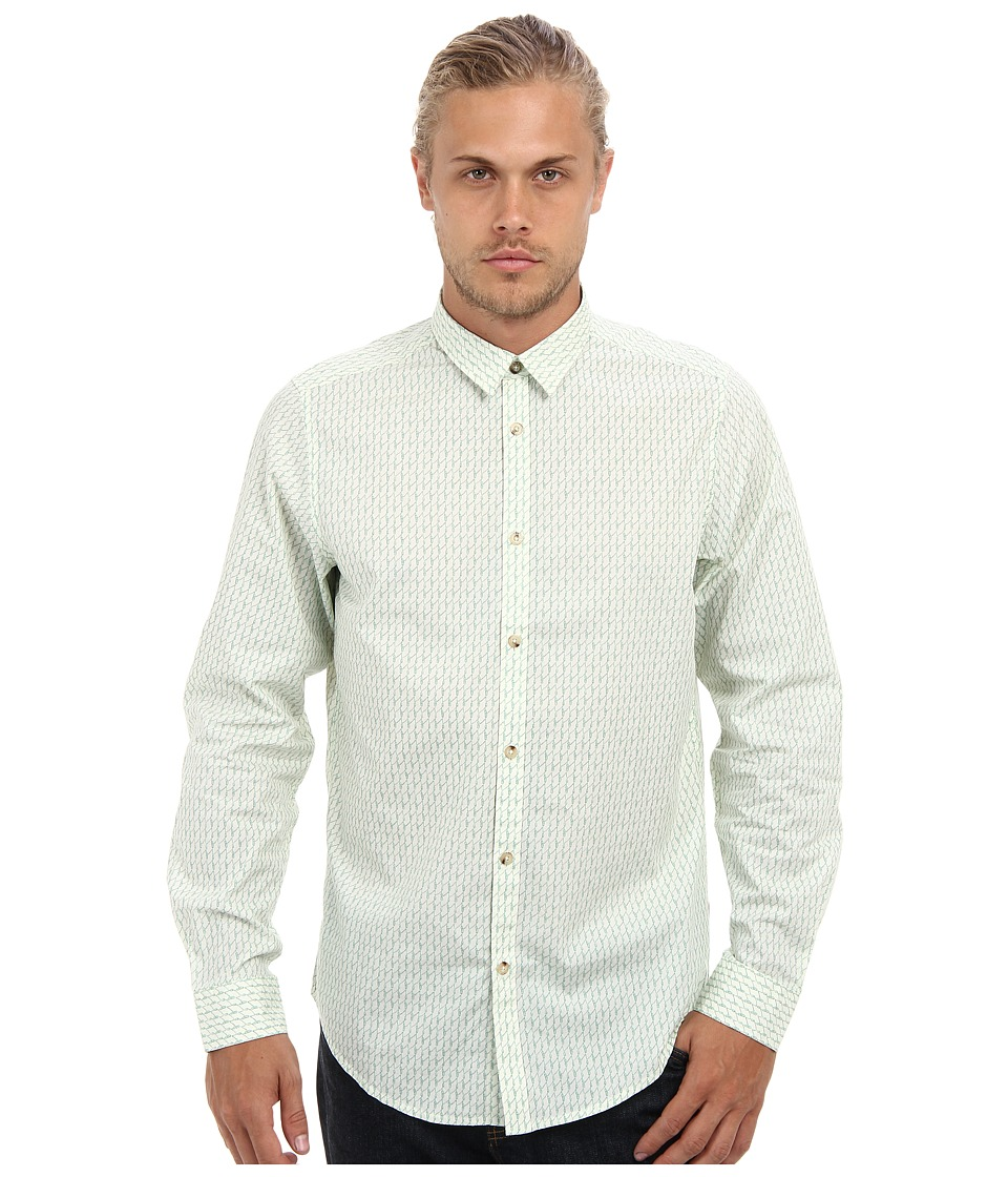 Ben Sherman - Rope Print (Snow White) Men's Long Sleeve Button Up
