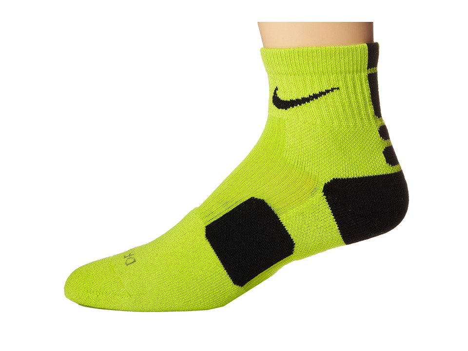 Nike - Elite Basketball HQT (Cyber/Black/Black) Quarter Length Socks Shoes