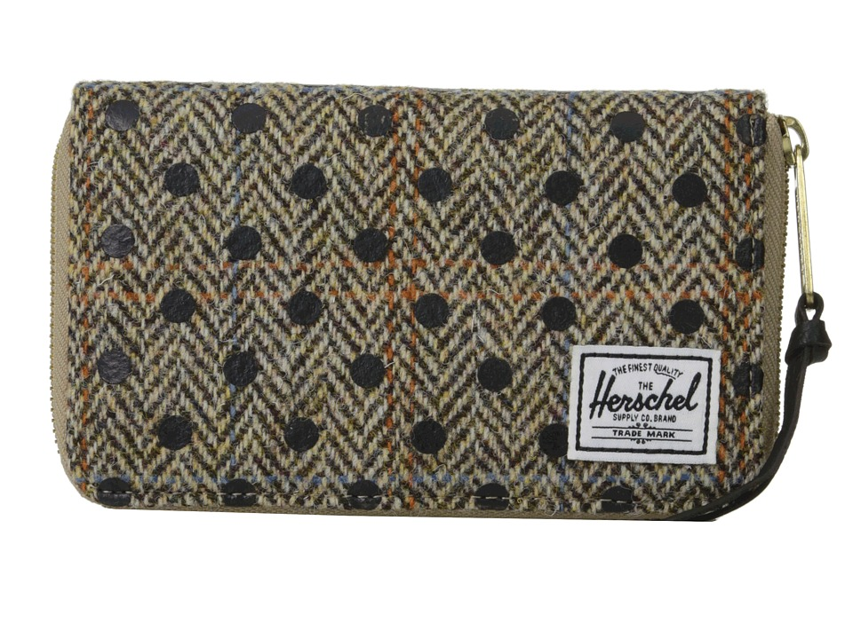 Herschel Supply Co. - Thomas (Harris Tweed/Black Polka Dot Screen Print) Wallet Handbags