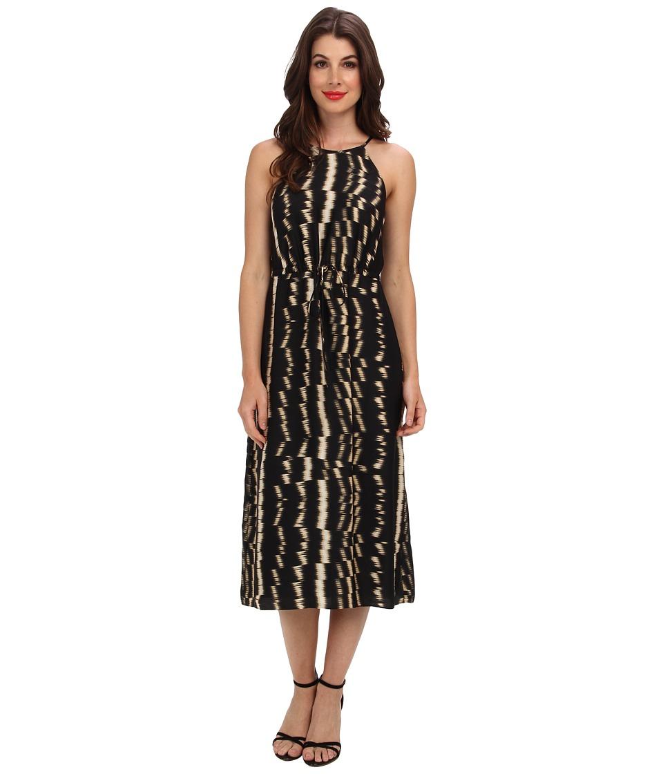 Ivy & Blu Maggy Boutique - Sleeveless Bib Neck Abstract Print Dress (Black/Tan) Women's Dress