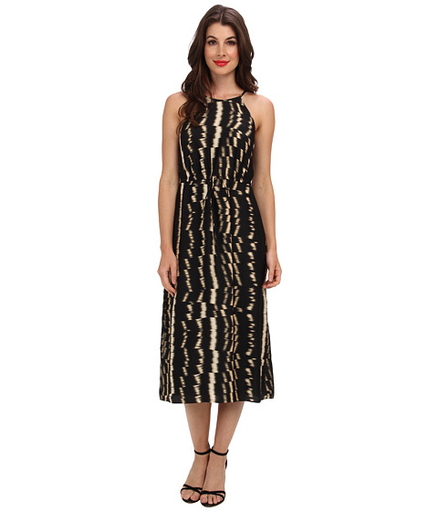 Ivy & Blu Maggy Boutique - Sleeveless Bib Neck Abstract Print Dress (Black/Tan) Women's Dress