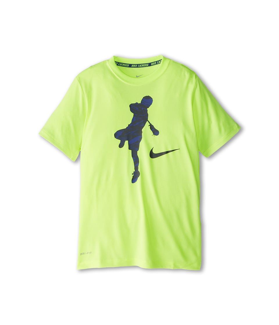 Nike Kids - YA LAX Lightweight Action Shot Tee (Little Kids/Big Kids) (Volt/Deep Royal Blue) Boy's T Shirt