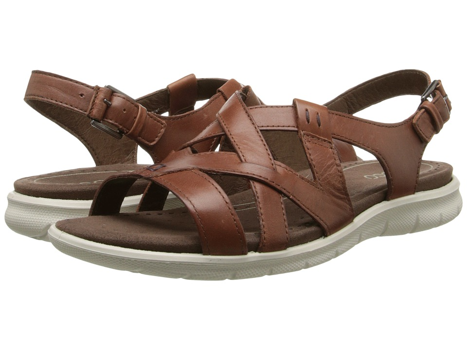 ECCO - Babett Sandal Cross Strap (Mahogany) Women's Sling Back Shoes