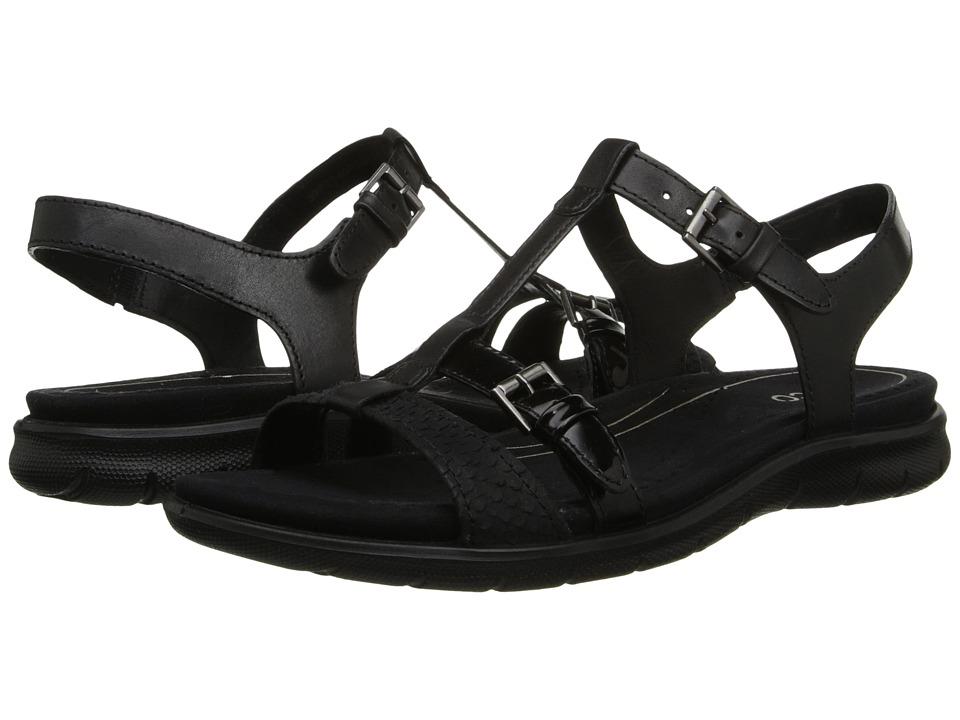 ECCO - Babette Sandal T-Strap (Black/Black) Women's Sandals
