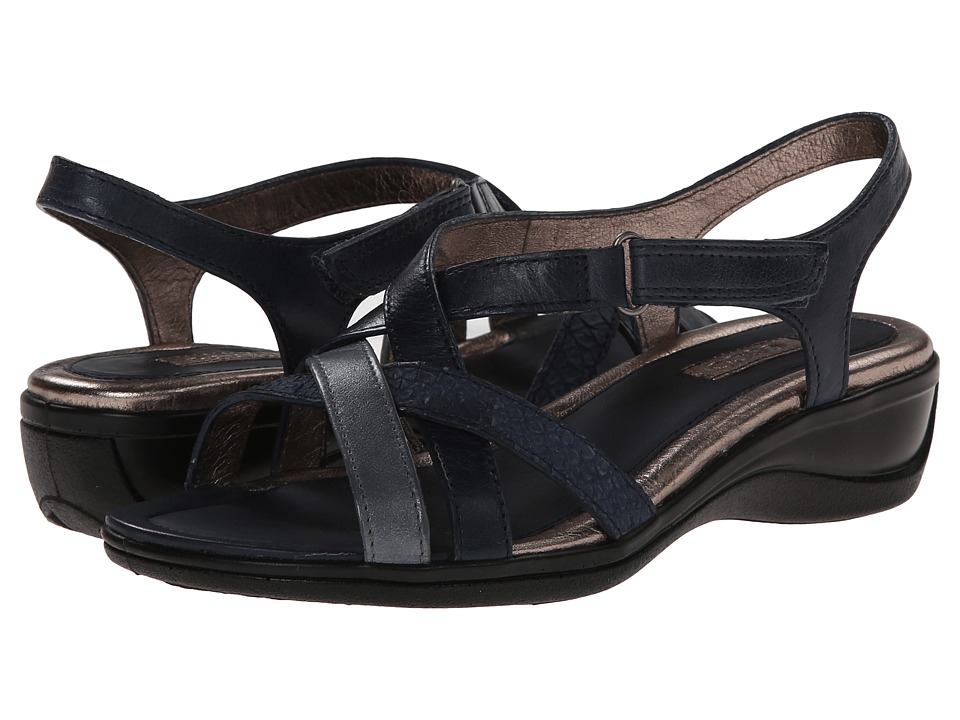 ECCO - Sensata Cross Strap Sandal (Marine/Titanium Silver/Marine) Women's Sandals