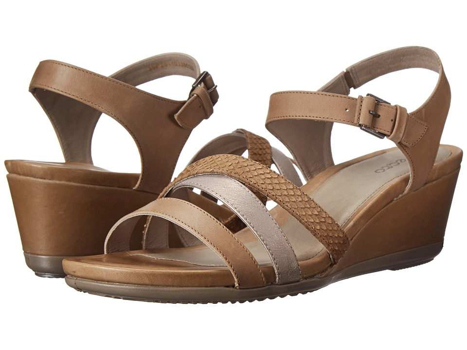 ECCO - Touch 45 Wedge Sandal (Navajo Brown/Moon Rock/Navajo Brown) Women's Wedge Shoes