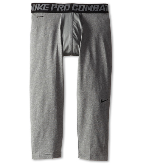 Nike Kids - Pro Combat Core Compression 3/4 Tights (Little Kids/Big Kids) (Carbon Heather/Black) Boy's Workout