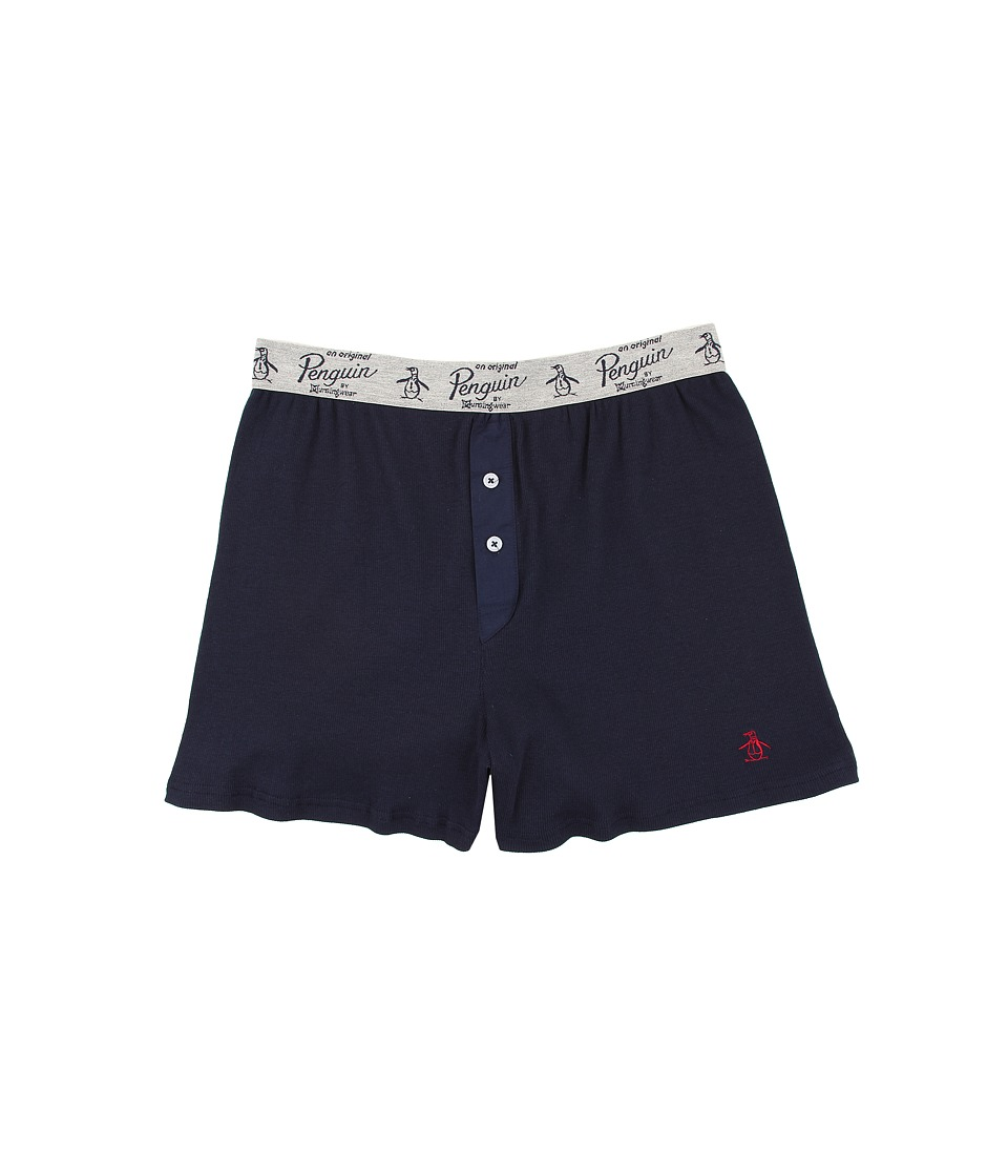 Original Penguin - Solid Color Ribbed Boxer (Navy) Men's Underwear