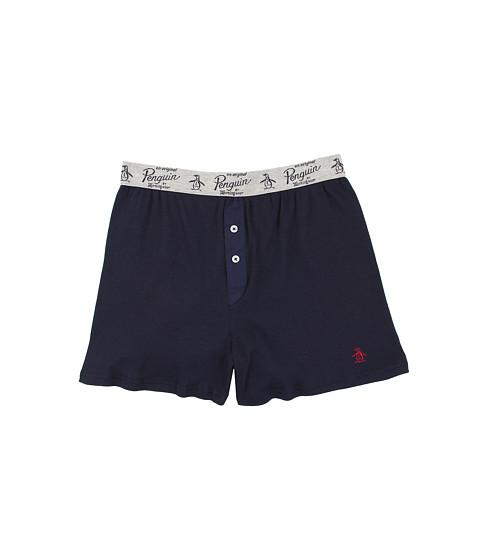 Original Penguin - Solid Color Ribbed Boxer (Navy) Men's Underwear