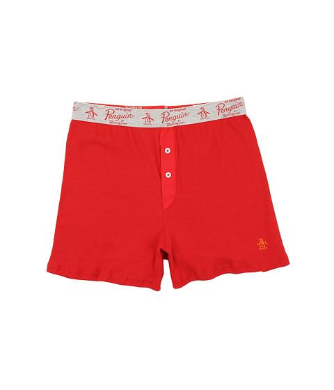 Original Penguin - Solid Color Ribbed Boxer (Pompeiian Red) Men