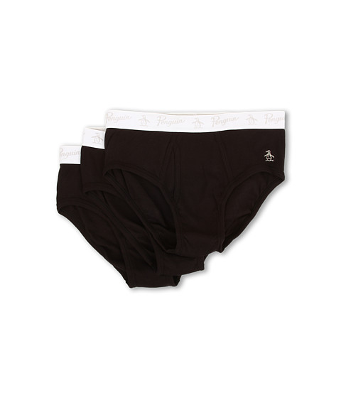Original Penguin - 100% Cotton 3 Pack Brief (Black) Men's Underwear