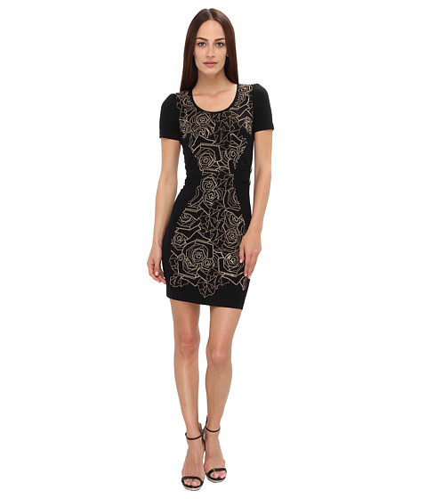 Versace Jeans Floral Print Sheath Dress (Black) Women's Dress