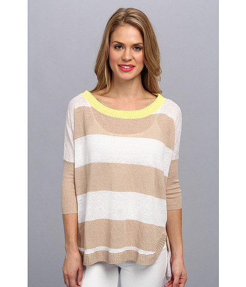 Central Park West - Stripe Linen Top (Sand) Women's Sweater