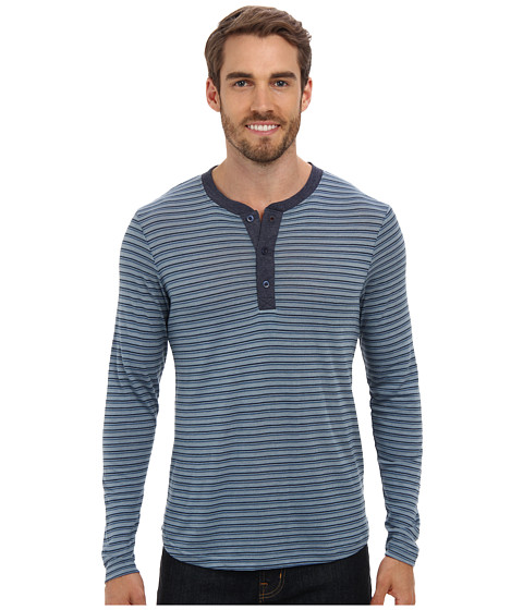 Alternative - Jersey Henley L/S (Eco True Blue Fog Notebook Stripe/Eco True Midnight) Men