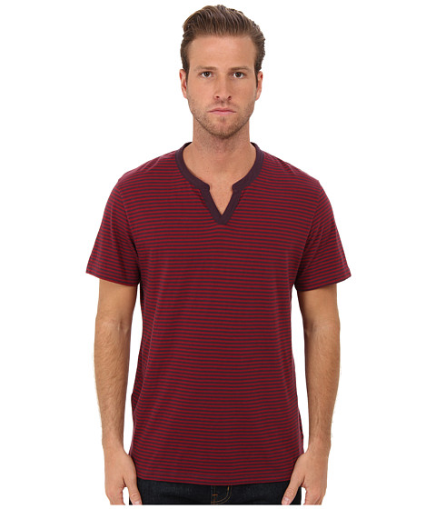 Alternative - Striped Organic Pima Moroccan Tee (Eggplant Stockholm Stripe) Men's Short Sleeve Pullover