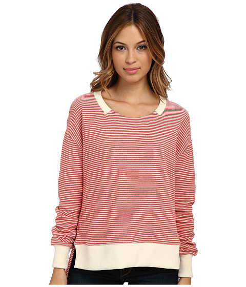 Alternative - Organic Striped French Terry Crew (Baked Apple Marine Stripe) Women's Clothing