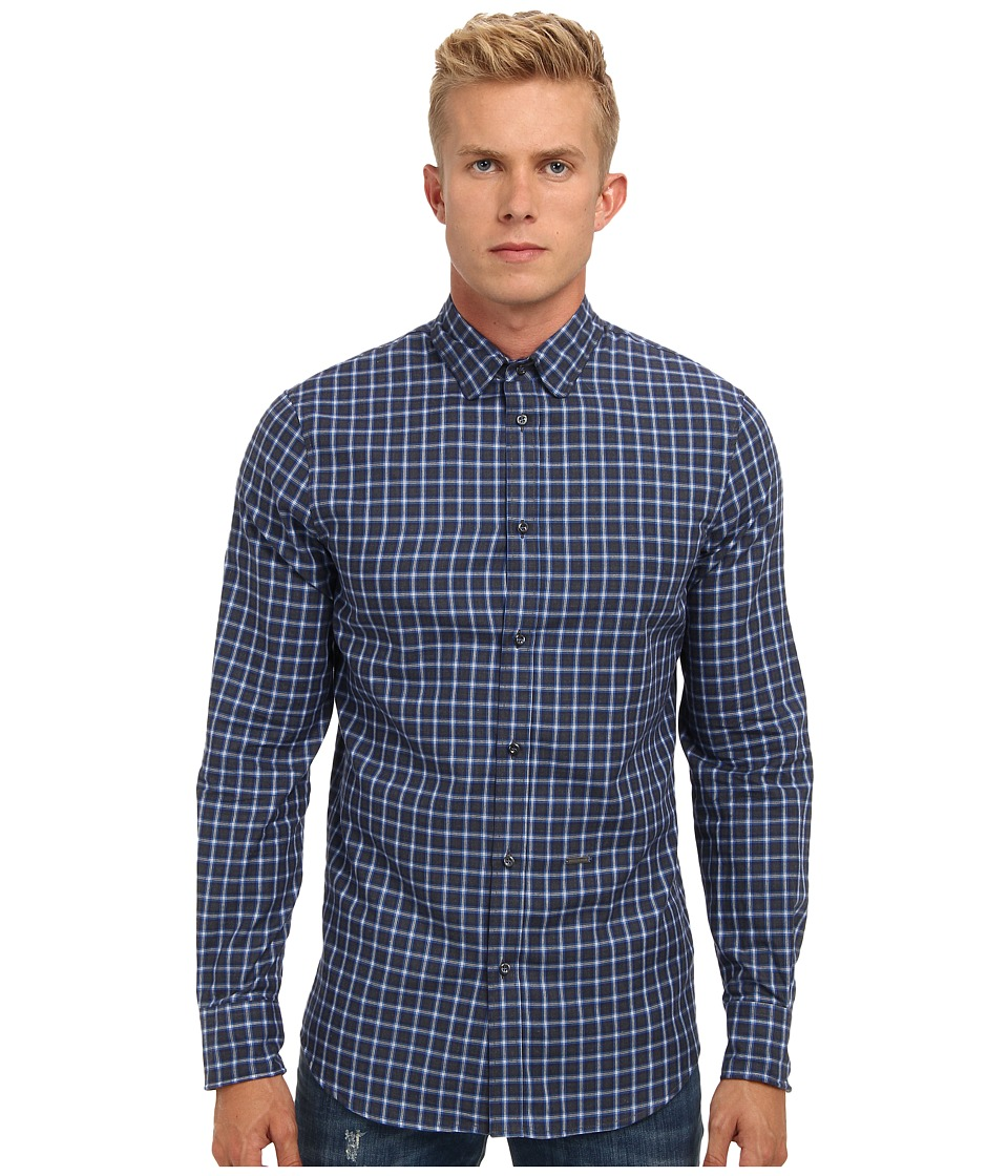 DSQUARED2 - Check Cotton Metal Wired Button Up (Multi) Men's Long Sleeve Button Up