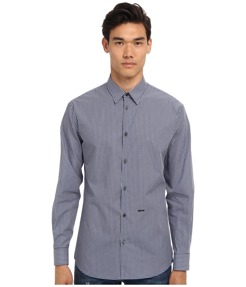 DSQUARED2 - Relaxed Dan Button Up (Blue Multi) Men's Long Sleeve Button Up