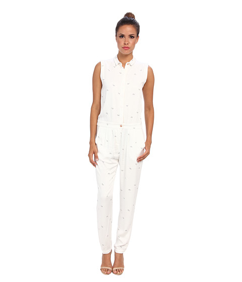 Alternative - Printed Rayon Twill Jumpsuit (Stone Bike) Women's Jumpsuit & Rompers One Piece