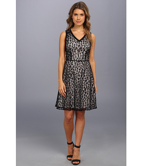 Marc New York by Andrew Marc - Animal Mesh Fit Flare Dress MD4L5264 (Black) Women