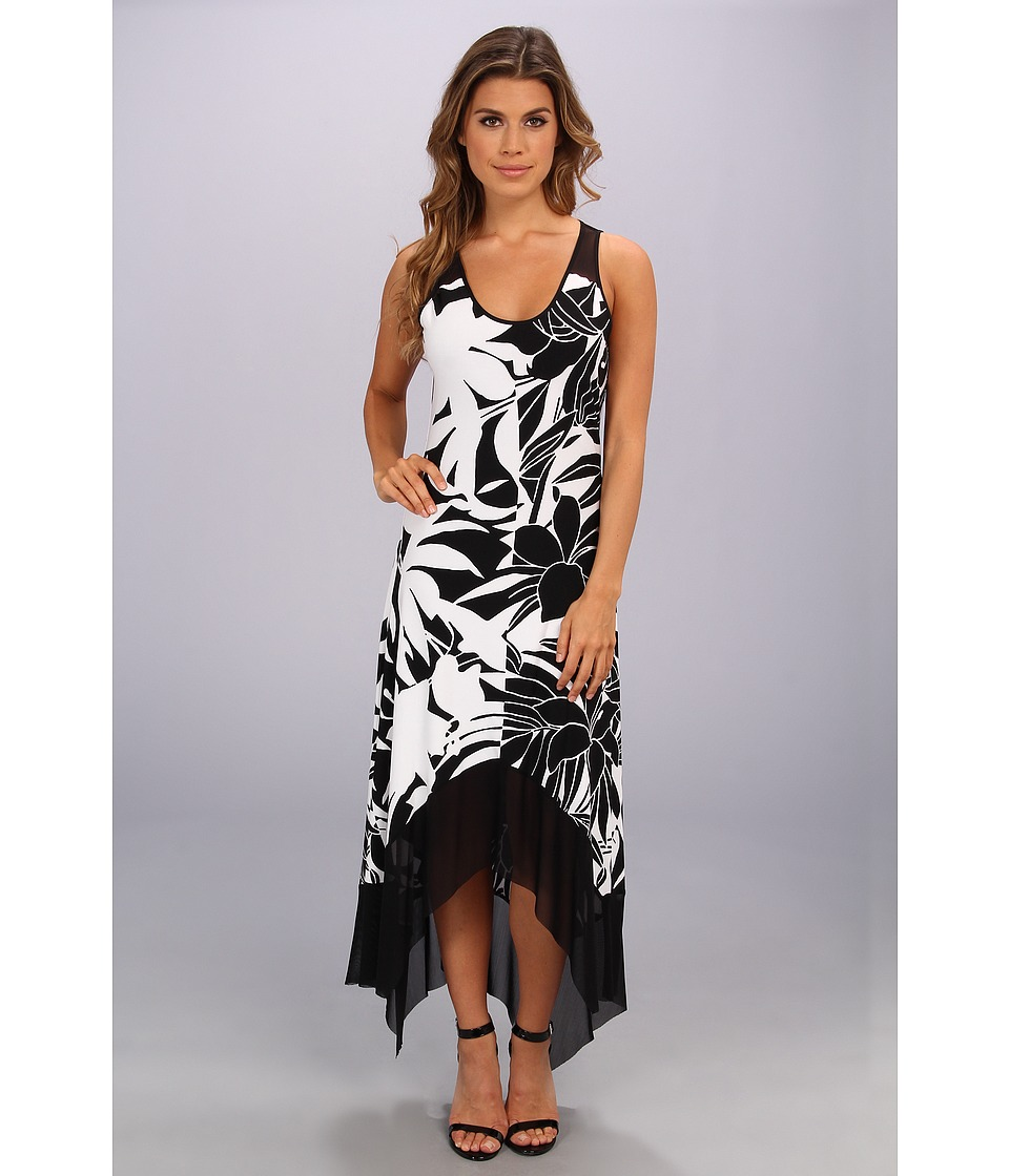 Marc New York by Andrew Marc - Flower Print Mesh Hem Maxi Dress MD4Y5280 (Black/White) Women's Dress