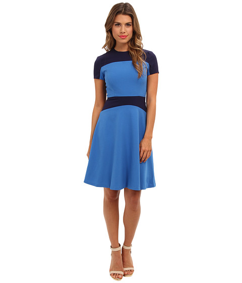 Marc New York by Andrew Marc - Color Block Fit Flare Dress MD4X6323 (River Blue) Women