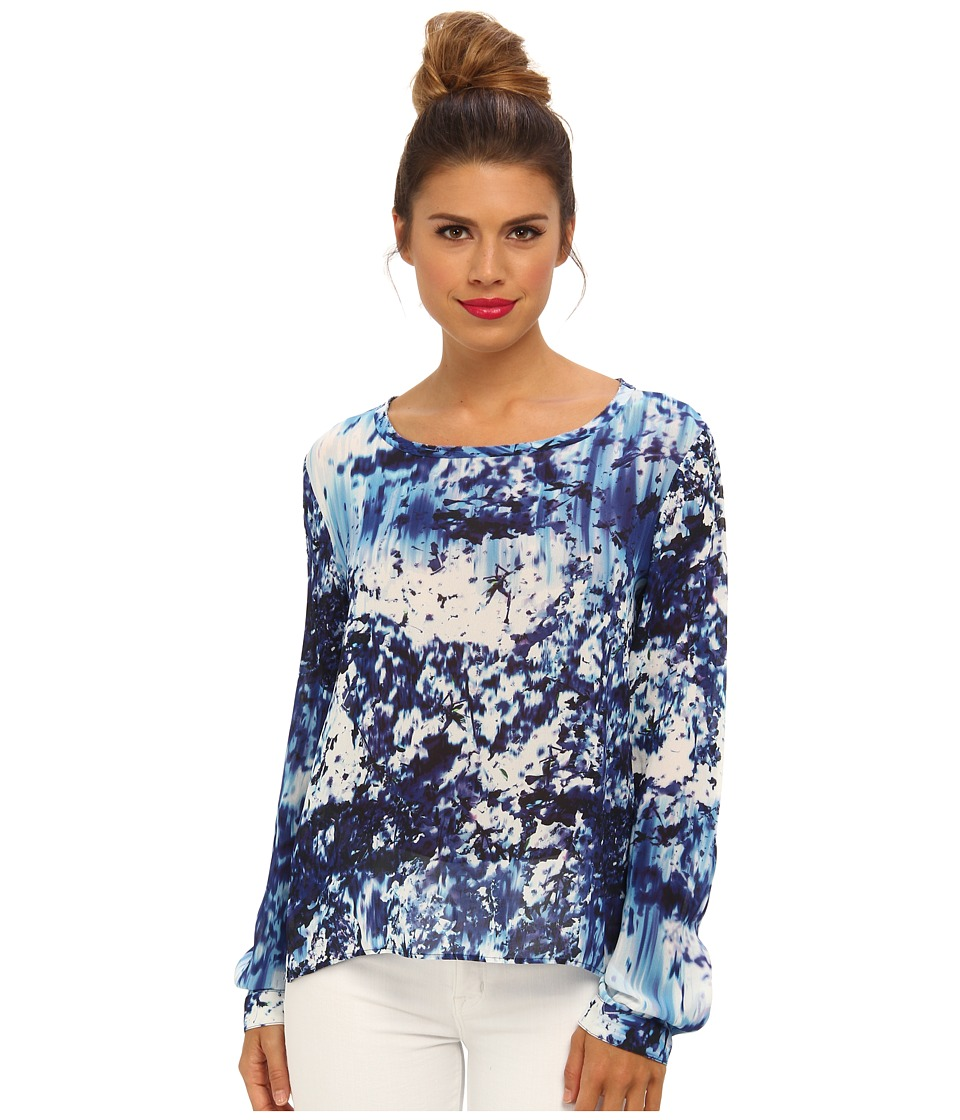 Nicole Miller - Blue Lagoon Splatter Blouse (Navy Multi) Women's Blouse