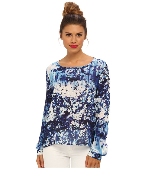 Nicole Miller - Blue Lagoon Splatter Blouse (Navy Multi) Women